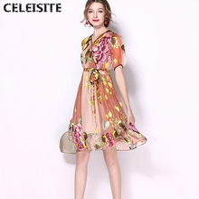 CELEISITE New 2017 Summer Printed Pure Silk Dresses Lantern Sleeve Elegant Mulberry Silk Dress C124