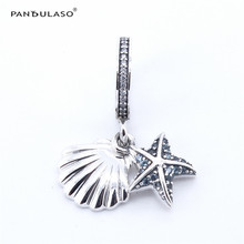 Pandulaso Tropical Starfish & Sea Shell Crystal Beads for DIY Jewelry Making Fit Charms Silver 925 Original Bracelets & Bangles(China)