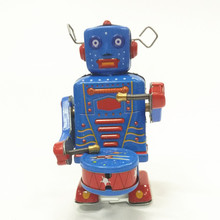 Antique Style Tin Toys Wind Up Toys Robots iron Metal Models for Children/Adult Home Decoration Craft MS514 playing drum(China)