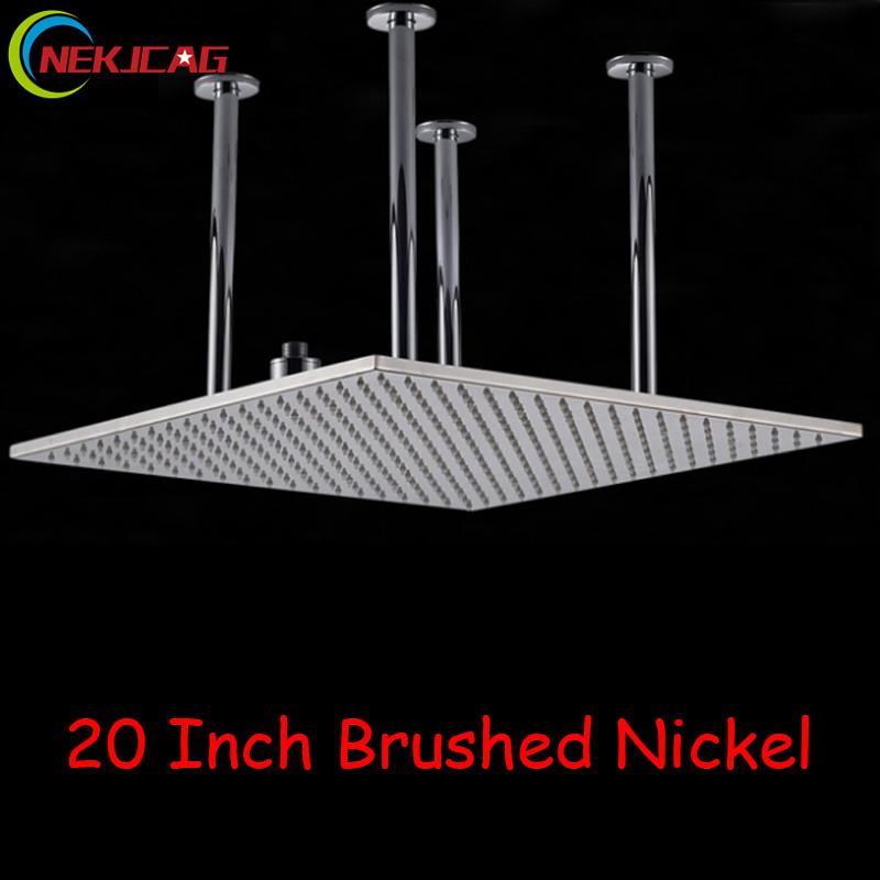 Brushed-Nickel-Huge-20-Rain-Shower-Head-Chrome-Finish-Shower-Sprayer-Top-Shower-Head-W-Water