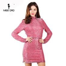 Missord 2017 Sexy long sleeve high-necked shoulder pads sequin dress backless party dress FT4952(China)