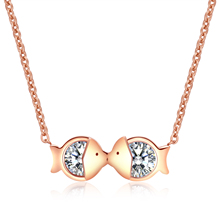 Buy Lokaer Classic Kissing Fish Mosaic Cubic Zirconia Pendant Necklaces Link Chain Trendy Necklace Rose Gold Color Women Necklace for $3.99 in AliExpress store