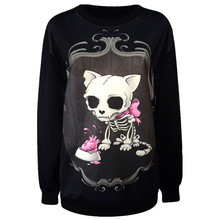New 2017 Ladies Fashion Clothes Hoodies.Animal Skull Dog Printed Punk Sweatshirt.Punk Style Casual Coat Woman Sexy Jacket Tops