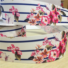 Pick Size 16 22 25 38 50 75 mm Width rose flower Ribbons floral Printed Grosgrain Ribbon Hair Bows FL01(China)