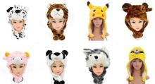 Cosplay stuffed cartoon hat adults kids children plush animal hat party costume cap cute fun event winter warm  hats earmuff