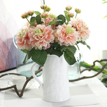 5pcs/lot 47cm elegant Dahlia with one bud artificial fake silk flower home wedding party outside decoration crafts plant
