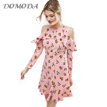 DOMODA Apparel Elegant Floral Print Dress Women Clothing Cute Butterfly Sleeve Spring Dress Sexy Off Shoulder Vestidos Female(China)