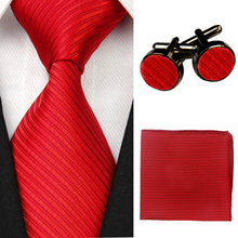Accessories Ties for Men Solid Striped Pattern Business Silk Tie Sets Hanky Handkerchief Cufflinks Red Black Necktie Gravatas(China)