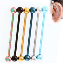 1Pc 1.6*34mm Candy Color Long Ear Piercing Jewelry Industrial Barbells Piercing Scaffold Ear Cartilage Helix Body Jewery(China)
