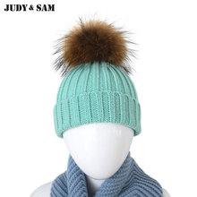15 Colors New Arrival Caps Fashion Design For 2015 Winter Baby Must Have Popular Beanie Knitted Winter Warm Hat Real Fur Pom Pom(China)
