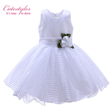 Cutestyles Girl Floral Dress White Striped Dresses For Party And Wedding Kids Summer Clothes Holy Communion Girl Dress Wholesale