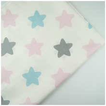Syunss,100%Cotton Twill Fabric Pink Blue Gray Stars Print Patchwork DIY Handmade Curtain Textile Material Sewing Baby Toy Tissue(China)