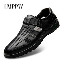 2019 Summer New Men s Casual Sandals Leather Flat Shoes Black Brown Dress  Formal Sandals Breathable Hollow 9ab8a5ce9a43