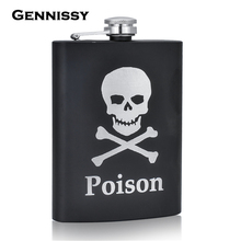 GENNISSY Alcohol Hip Flask 8oz Skull Stainless Steel Fashion Black Mini Flasks Camp Outdoor Portable Whiskey Bottle Gift for Men