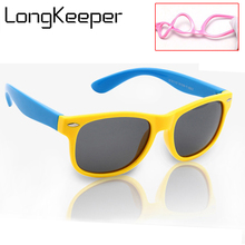LongKeeper Polarized Sunglasses Kids Flexible High Quality Eyewears Children Square Frame Baby UV400 Goggles HD Lens Sun Glasses(China)