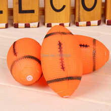Novelty Dog Squeaky Toy For Pet Dog Chew Toy Small Rubber Squeaky Rugby Ball Playing Products Orange 3lr0pwf
