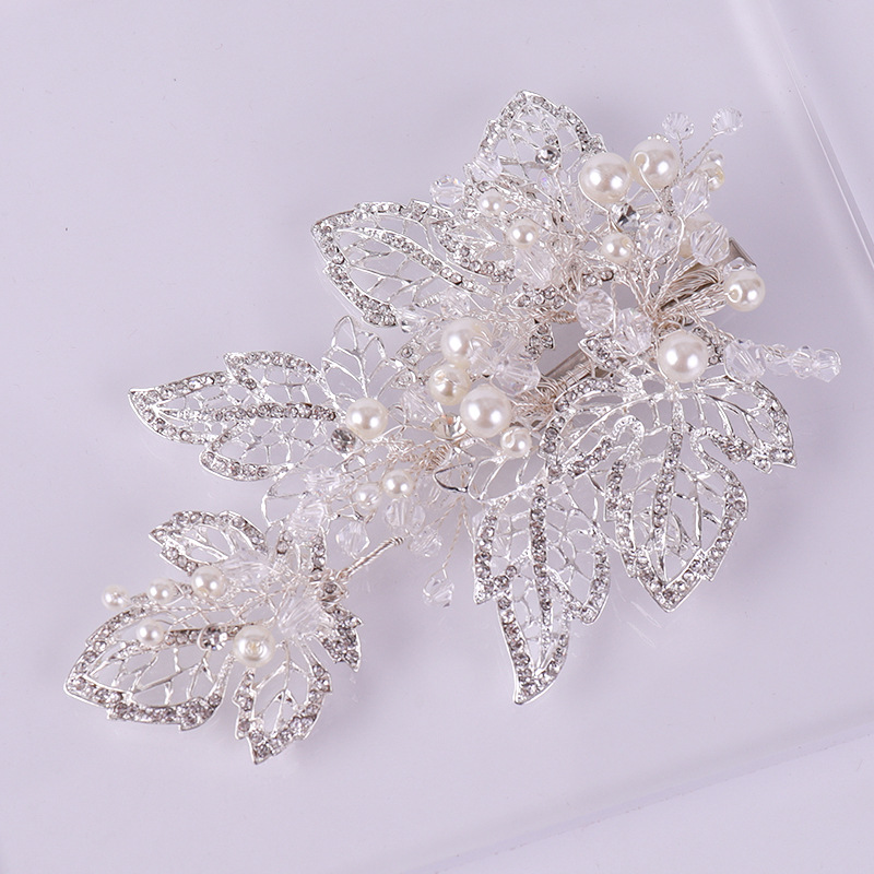90g Amazing Coming Silver Leaf Barrettes Hair Accessories Clip Headband Hair Head Decoration Pearl Wedding Hair Jewelry Headwear
