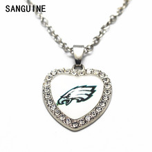 1pcs Philadelphia Eagles Crystal Football Glass Silver Heart Pendant Necklace 50cm Chains For Men Sports Necklace Jewelry gift(China)