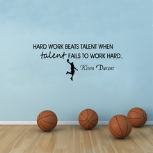 Kevin Durant Basketball Quote Vinyl Wall Sticker Work Hard Art Decal Basketball Decoration(China)