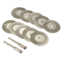 10pcs/set 30mm Mini Diamond Saw Blade Silver Cutting Discs with 2X Connecting Shank for Dremel Drill Fit Rotary Tool Hot Sale