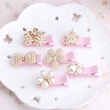 2017 New Baby Hair Clips Crown Pearls Hairpins Children Hair Accessories Flower Wrapped Bow With Pearls Princess Tiara Barrettes(China)