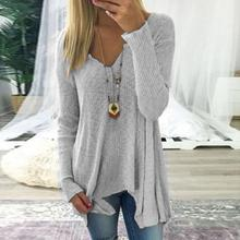 Sweater Autumn Winter Fashion Women  Knitted Sweater V-Neck Long Sleeve Pullover Jumper WS3536M