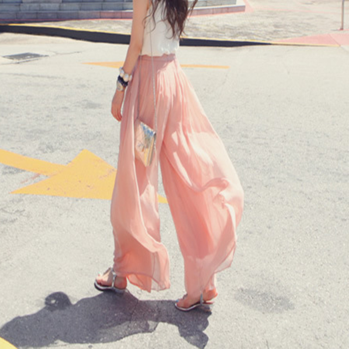 Women's Chiffon High Elastic Waist wide leg pants Loose straight Palazzo Culottes Trousers