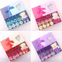 12Pcs/Box Romantic Rose Soap Flower With Little Cute Bear Doll, Mother's Valentine's Day Gifts/ Wedding Gift/birthday Gifts 3(China)