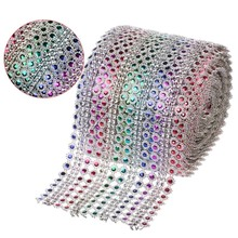 "1Yard(3ft) x 4.5"" Rainbow Color Diamond Mesh Crystal Sewing Rhinestone Ribbon Trim for Wedding Party Decorations DIY Gift Wrap(China)"