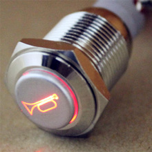 12V 3A 16mm Car Red LED Momentary Push Button Horn Metal Switch For Car Boat Speakers Bells Horn Wholesale