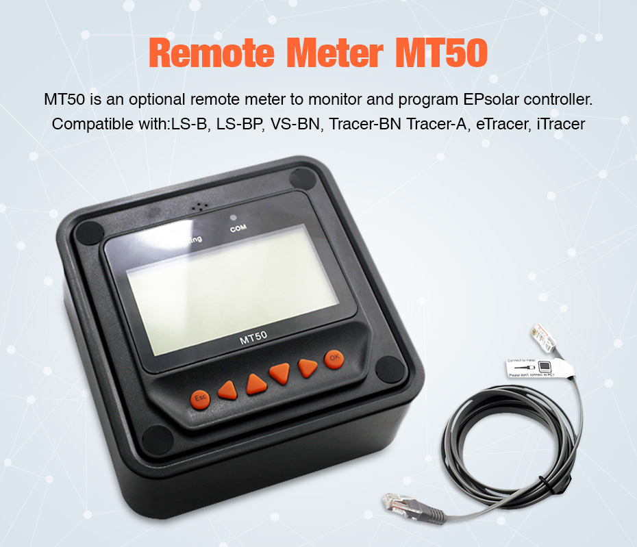 Remote Meter Display MT-50 for EPever EPsolar MPPT Solar Charge Controller Tracer-AN Tracer-BN TRIRON XTRA ViewStar-AU BN Series_01