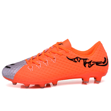 MAULTBY Men's Gray / Orange AG Sole Outdoor Cleats Football Boots Shoes Soccer Cleats #S31704O