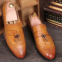 Tassel Leather Shoes Men Breathable Pointed Toe Men Shoes Casual Slip On