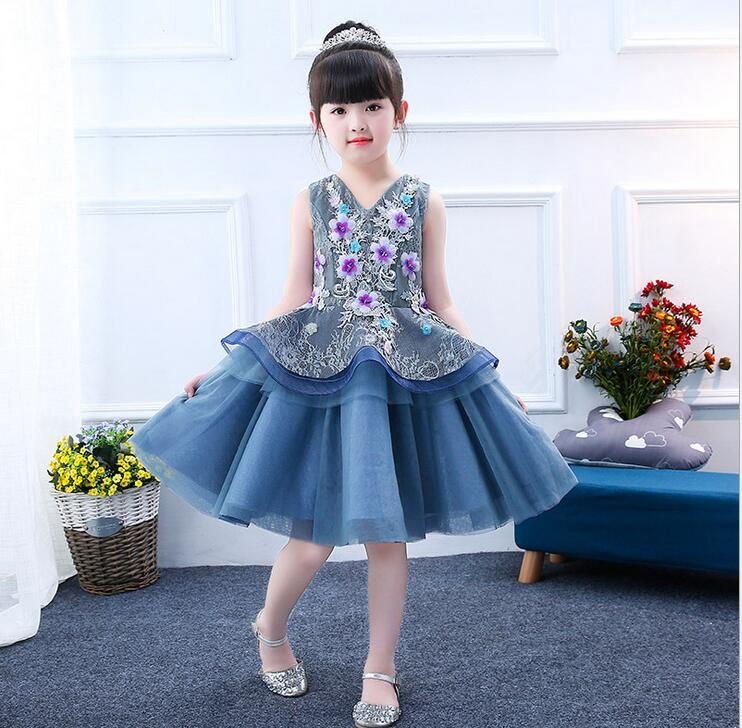 hot 3D Flower Girls Party 2 Layer Dress Embroidered Formal Bridesmaid Wedding Girl Christmas Princess Ball Gown Kids Vestido<br>