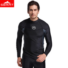 SBART Long Sleeve Men Rash Guards Swimwear Shirts Lycra Sun Protective Wetsuit Tops Diving Snorkle Swimming Surfing Rashguard L