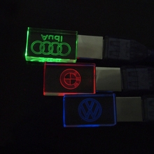 2016 New Crystal  USB Flash Drive 4GB 8GB 16GB 32GB audi /BMW / Volkswagen Car Logo Pendrive USB 2.0 Flash Memory Drive