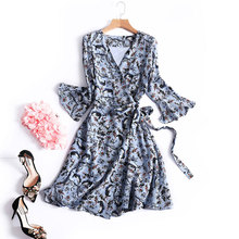 2017 Spring Summer Women V-Neck Flare Sleeves Lace-Up Waist Floral Print Silk Dress Ladies Wrap Dresses