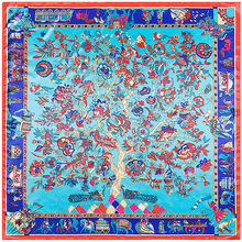 90cm * 90cm new silk suqare scarf name family wind wealth tree elephant ladies scarf generous towel hijab(China)