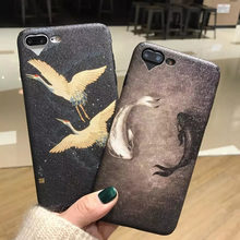 LOVECOM For iPhone 6 6S Plus 7 Plus Phone Case Cranes Lucky Fish Silk Soft TPU Back Cover Bag LOVE Heart Logo Window Capa Shell