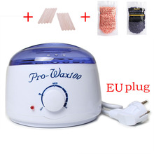 1set EU Plug Professional Warmer Wax Heater +Wooden Waxing Wax Disposable Sticks+2* No Strip Hair Removal Bean 100g T3