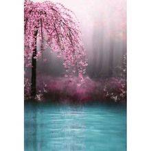 Seamless Vinyl Photography Backdrop Pink Flower Lakes Scenic Computer Printed Children Backgrounds for Photo Studio CM-1031(China)