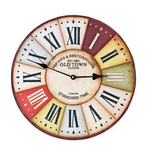 Hot Sale Vintage Wooden Wall Clock Colourful Large Decorative Wall Clocks Brief Wall Watch Home Decor(China)