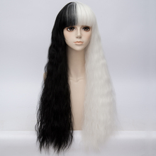 Women Black Mixed White Curly Harajuku Lolita 70CM Women Cosplay Wig with Bangs(China)