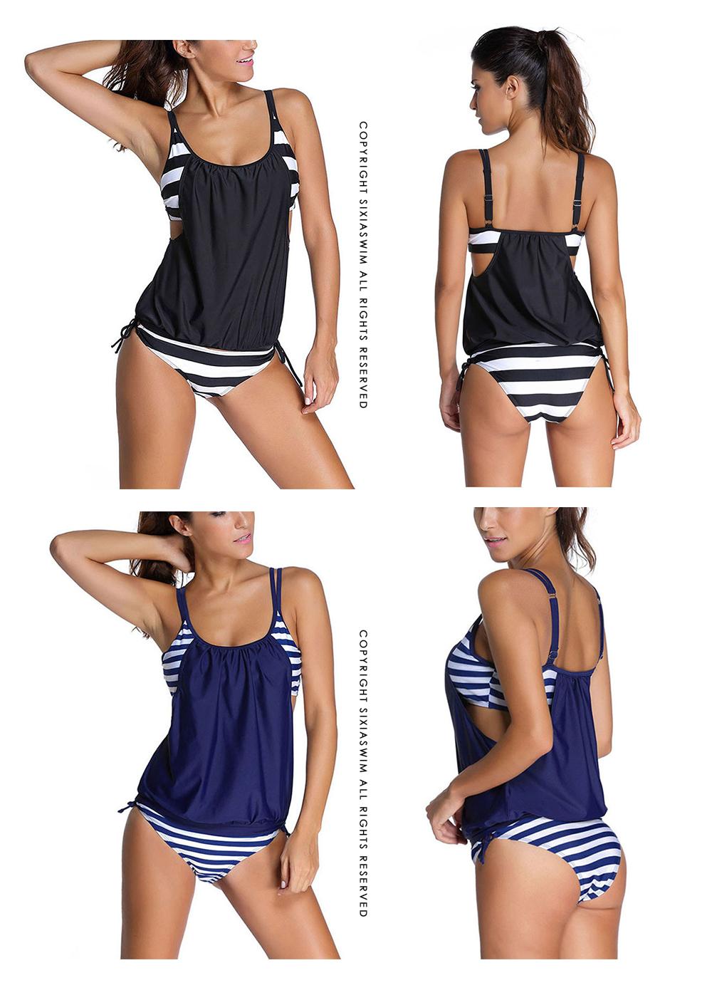 Sexy Black Striped Two Pieces Large Size Tankini Women Plus Size Two Piece Swimwear 17 Female Bikini Set Push Up Swimsuit XXXL 1