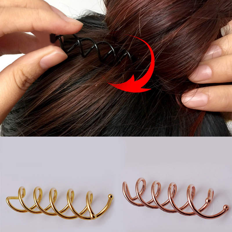 1PC Fashion Women Golden Dispenser Spiral Aolly Plated Hairdressing Tool Hairpin Hair Accessories
