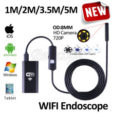 8mm HD720P Wireless WIFI Endoscope Camera 5M 3.5M 2M 1M USB HD Waterproof Camera for Andoird Iphone Windows Phone PC Borescope(China)