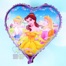 45*45cm heart three princess foil balloons for girl birthday party supplies snow white Aluminium mylar balloons helium balloons