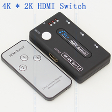 3 Port HDMI Selector Switch 3 in 1out HDMI Converter Adapter With Remote Control Supports HDMI 3D 1080p 4K x 2K