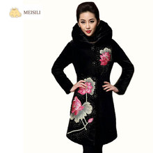 2017 MEISILI Winter Thickening Woman Embroidery Flowers Velvet Warm Trench Coat Plus Size S-6XL Long Woman Overcoat Middle Age