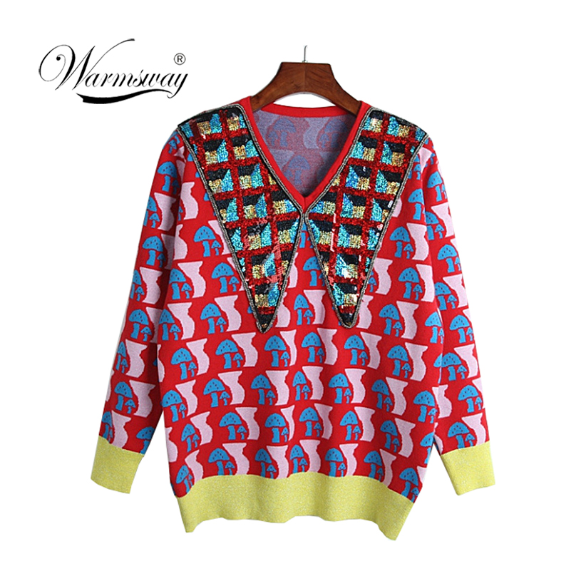 High Quality Wool Blend Sweater for Women Winter Turn Down Collar Sequins Beading Mushroom pattern Warm Knitted Pullovers C-384